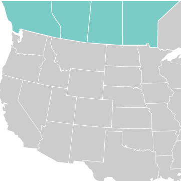 Map of Western Canada Sales Rep Area